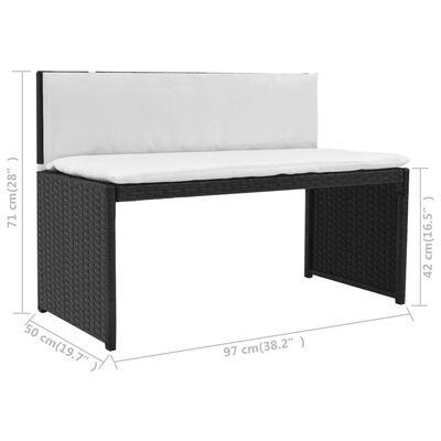 vidaXL 5-delige Tuinset staal poly rattan zwart
