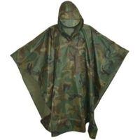 Camouflage / leger print regenponco met capuchon voor volwassenen -