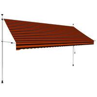 vidaXL Luifel handmatig uittrekbaar 350 cm oranje en bruin
