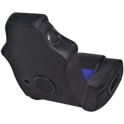 vidaXL Schommelstoel met muziek kunstleer zwart en blauw