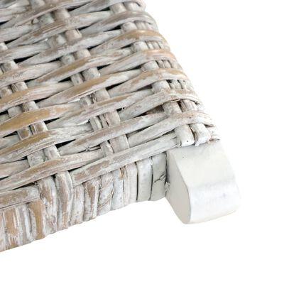 vidaXL Relaxstoel natuurlijk kubu rattan en massief mahoniehout wit