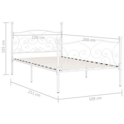 vidaXL Bedframe met lattenbodem metaal wit 100x200 cm