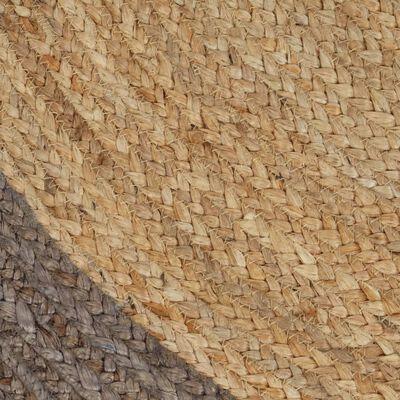 vidaXL Vloerkleed handgemaakt met grijze rand 90 cm jute