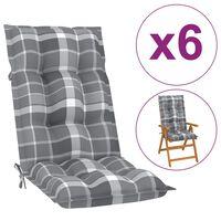 vidaXL Tuinstoelkussens 6 st 120x50x7 cm grijs ruitpatroon
