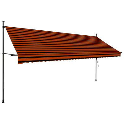 vidaXL Luifel handmatig uittrekbaar met LED 400 cm oranje en bruin