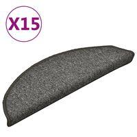 vidaXL Trapmatten 15 st 56x17x3 cm donkergrijs