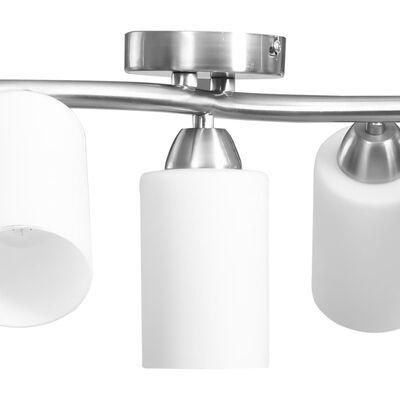 vidaXL Plafondlamp met keramieken cilindervormige kappen 5xE14 wit