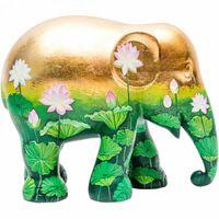 beeld olifant Golden Lotus 30 cm goud/groen