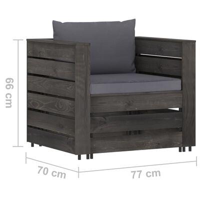 vidaXL 2-delige Loungeset met kussens grijs geïmpregneerd hout