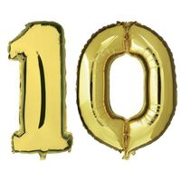 10 jaar gouden folie ballonnen 88 cm leeftijd/cijfer -