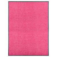 vidaXL Deurmat wasbaar 90x120 cm roze