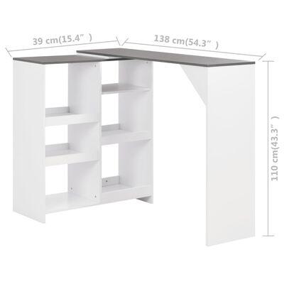 vidaXL Bartafel met verplaatsbaar schap 138x40x120 cm wit