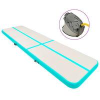 vidaXL Gymnastiekmat met pomp opblaasbaar 700x100x20 cm PVC groen