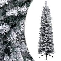 vidaXL Kunstkerstboom met sneeuwvlokken smal 120 cm PVC groen