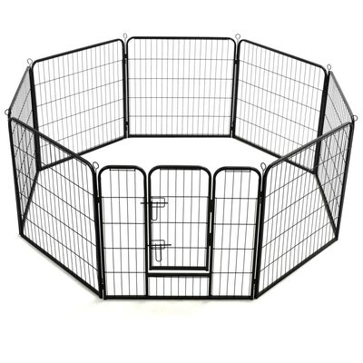 vidaXL Hondenren met 8 panelen 80x80 cm staal zwart