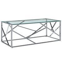 vidaXL Salontafel 120x60x40 cm gehard glas roestvrij staal transparant