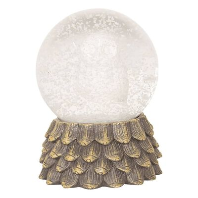 Sneeuwbol | Ø 8*11 cm | Wit | Polyresin / glas | rond | uil | Clayre &