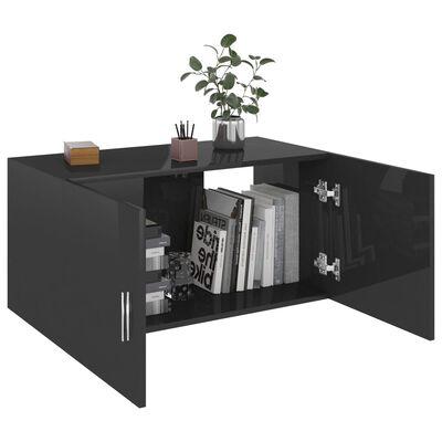 vidaXL Hangkast 80x39x40 cm spaanplaat hoogglans zwart