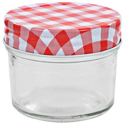 vidaXL Jampotten met wit met rode deksels 96 st 110 ml glas