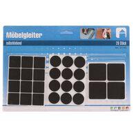 Antikras rubber/meubelvilt zwart 28-delig - meubel viltjes