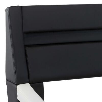 vidaXL Bedframe met LED kunstleer zwart en wit 90x200 cm