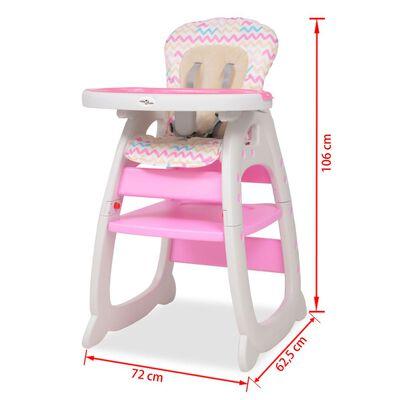 vidaXL Kinderstoel met blad 3-in-1 verstelbaar roze