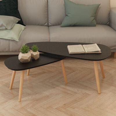 vidaXL 2-delige Salontafelset massief grenenhout zwart