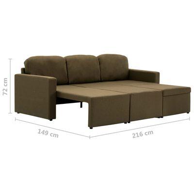 vidaXL Slaapbank driezits modulair stof bruin