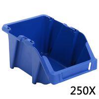vidaXL Opbergbakken stapelbaar 103x165x76 mm blauw 250 st