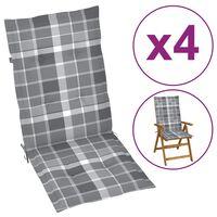 vidaXL Tuinstoelkussens 4 st 120x50x4 cm grijs ruitpatroon