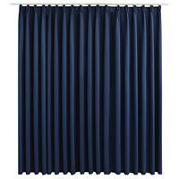 vidaXL Gordijn verduisterend met haken 290x245 cm blauw