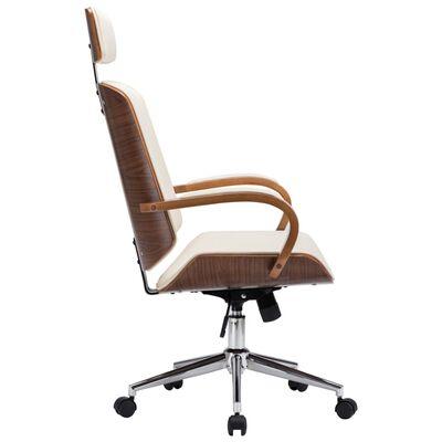 vidaXL Kantoorstoel draaibaar met hoofdsteun kunstleer en hout crème