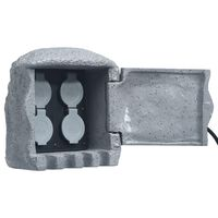 vidaXL Buitenstopcontact 4 ingangen afstandsbediening polyresin grijs