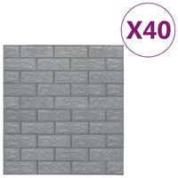 vidaXL 3D-behang zelfklevend 40 st bakstenen antracietkleurig