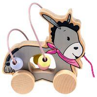 Happy People houten trekfiguur ezel met kralenframe 15 cm roze