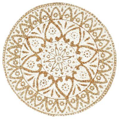 vidaXL Placemats 6 st rond 38 cm jute wit, White