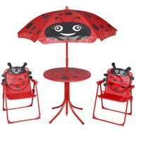 vidaXL 3-delige Bistroset voor kinderen met parasol rood
