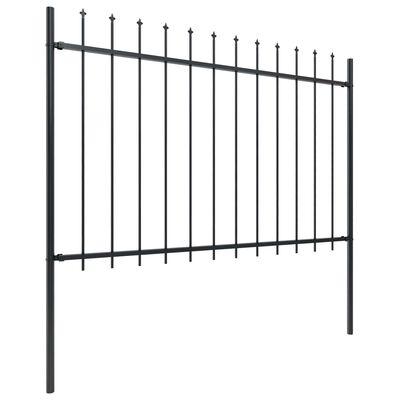 vidaXL Tuinhek met speren bovenkant 17x1,2 m staal zwart