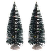 Kerstdorp onderdelen 2x kerstbomen met gekleurde Led verlichting 22