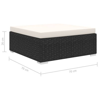 vidaXL 9-delige Loungeset met kussens poly rattan zwart