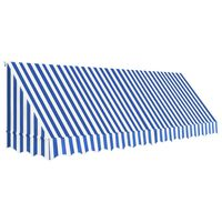 vidaXL Luifel 400x120 cm blauw en wit