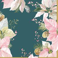 40x Kerst servetten groen/roze Kerstster bloemen 33 x 33 cm -