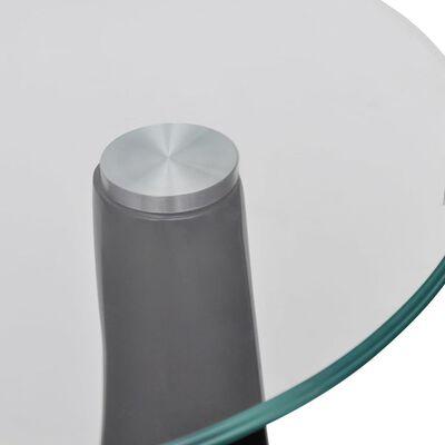 vidaXL Salontafel met rond glazen tafelblad hoogglans zwart