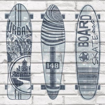 Urban Friends & Coffee Behang surfplanken blauw en wit