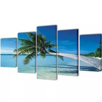 Canvasdoeken zandstrand met palmboom 100 x 50 cm