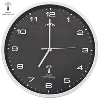 vidaXL Wandklok met quartz uurwerk radiogestuurd 31 cm zwart