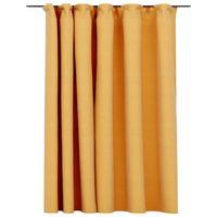 vidaXL Gordijn linnen-look verduisterend met haken 290x245 cm geel