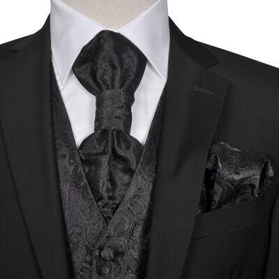 Gilet set mannen paisleymotief bruiloft maat 48 zwart