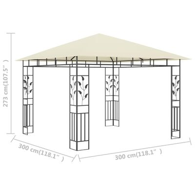 vidaXL Prieel met klamboe 180 g/m² 3x3x2,73 m crème