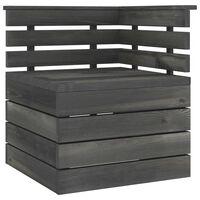 vidaXL Tuinhoekbank pallet massief grenenhout donkergrijs